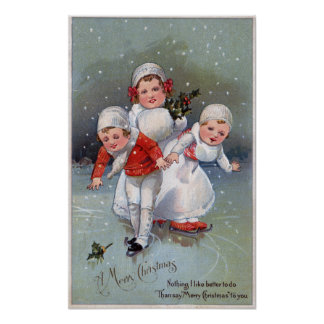 Fröhliches ChristmasLittle scherzt Eis-Skaten Poster