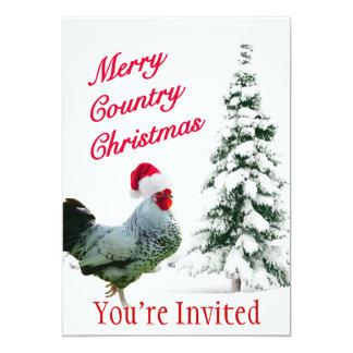 Fröhliches Land-Weihnachtshuhn mit Karte