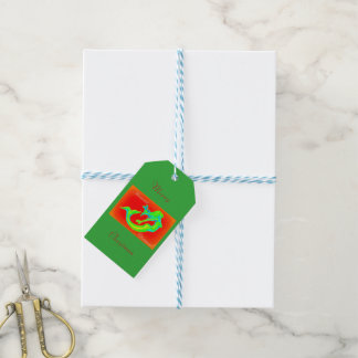 Fröhliches Meerjungfrau-Weihnachtsgrün/-ROT Geschenkanhänger