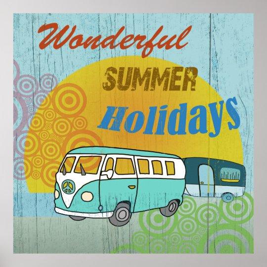 Fröhliches Sommer-Poster im 70er Jahre Style Poster