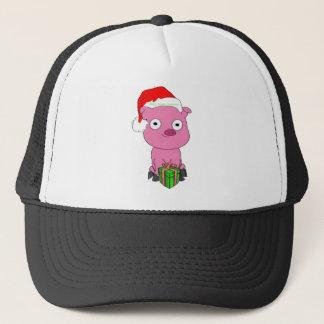 Fröhliches veganes Weihnachtsrosa-Schwein-Kleid Truckerkappe