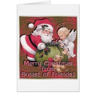 Fröhliches Weihnachten von der Brust der Freunde Karte
