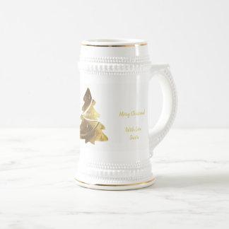 Fröhliches Weihnachtsbaum-Goldblick-elegantes Bier Bierglas