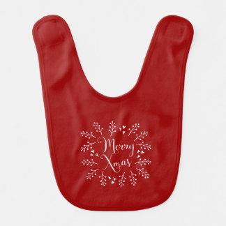 Fröhliches Weihnachtsdekoratives Rotes und weiß Babylätzchen