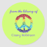 """""""From the library of"""" peace sign bookplate Stickers"""