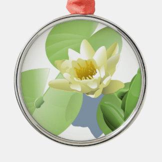 Frosch auf einer Lilly Auflage Silbernes Ornament