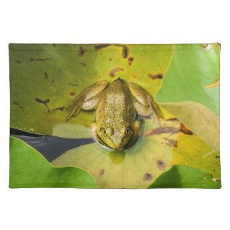Frosch auf Lilien-Auflage-Stoff-Tischset Stofftischset