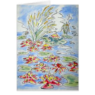 Frosch auf Lilienauflage-Wasserfarbeillustration Karte