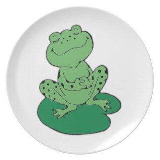 Frosch auf Lilypad Teller