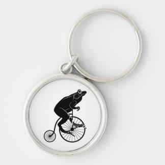 Frosch auf Penny-Farthing-Fahrrad Schlüsselanhänger