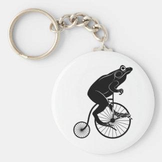 Frosch auf Vintagem Fahrrad Schlüsselanhänger