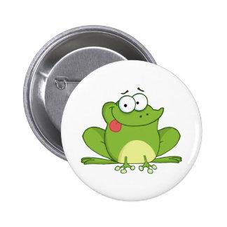 Frosch-Cartoon-Charakter, der heraus seine Zunge h Runder Button 5,1 Cm