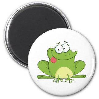 Frosch-Cartoon-Charakter der heraus seine Zunge h Magnete