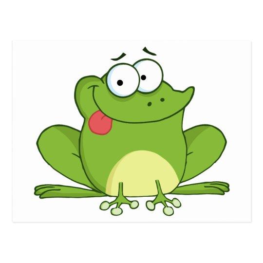 Frosch Cartoon Charakter Der Heraus Seine Zunge Postkarte Zazzle