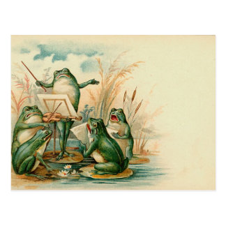 Frosch-Chor-Vintage Illustration Postkarte