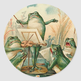 Frosch-Chor-Vintage Illustration Runder Aufkleber