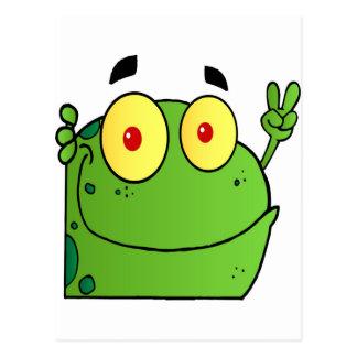 Frosch, der das Friedenszeichen gestikuliert Postkarte