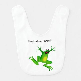 Frosch, der ihn denkt, ist ein Prinz Cartoon Lätzchen