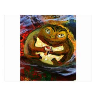 Frosch, der mit Wein feiert Postkarte