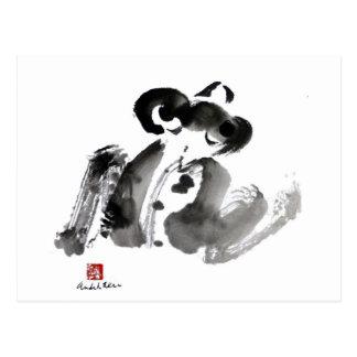 Frosch, eine traditionelle Sumi-e Tinten-Malerei Postkarte