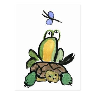 Frosch fängt eine Fahrt auf Schildkröte Postkarte
