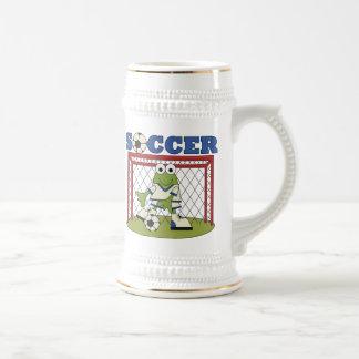 Frosch-Fußballgoalie-T - Shirts und Geschenke Bierglas