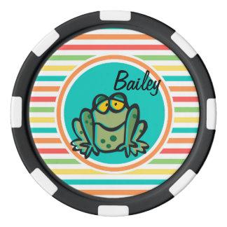 Frosch; Helle Regenbogen-Streifen Poker Chips Set