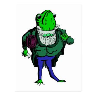 frosch im frack frog in tailcoat postkarte