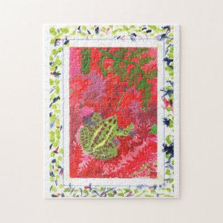 Frosch im roten Sumpf in handgemaltem Puzzle