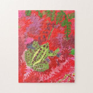 Frosch im roten Sumpfpuzzlespiel Puzzle