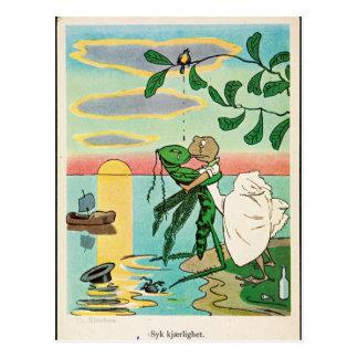 Frosch-Insekten-romantischer Küste-Kuss Vintag Postkarte