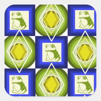 Frosch kopiert blaue quadratische Diamanten Quadratischer Aufkleber