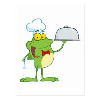 Frosch-Maskottchen-Kochs-Umhüllungs-Nahrung in Postkarte