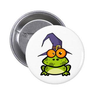 Frosch mit einem Hexe-Hut Runder Button 5,7 Cm