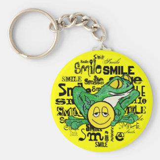 Frosch mit einem Lächeln Standard Runder Schlüsselanhänger