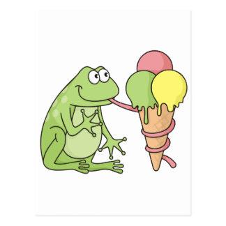 Frosch mit Eiscreme Postkarte