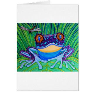 Frosch mit leuchtenden Augen Grußkarte