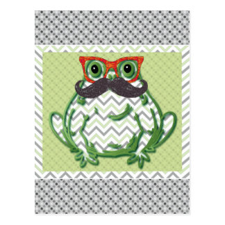 Frosch mit Schnurrbart- und Fischgläsern durch Postkarte