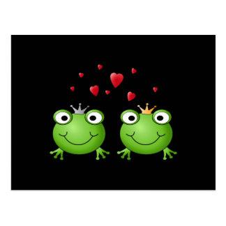 Frosch-Paare mit Herzen Postkarte