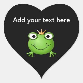 Frosch-Prinz. Lächelnder Frosch mit einer Krone Herz Sticker