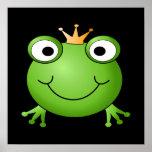 Frosch-Prinz. Lächelnder Frosch mit einer Krone Posterdruck