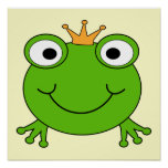 Frosch-Prinz. Lächelnder Frosch mit einer Krone Posterdrucke