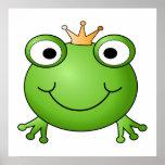 Frosch-Prinz. Lächelnder Frosch mit einer Krone Plakat