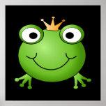 Frosch-Prinz. Lächelnder Frosch mit einer Krone Poster
