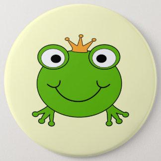 Frosch-Prinz. Lächelnder Frosch mit einer Krone Runder Button 15,3 Cm