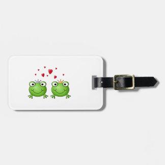 Frosch-Prinz und Frosch-Prinzessin, mit Herzen Gepäck Anhänger