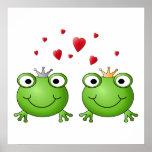 Frosch-Prinz und Frosch-Prinzessin, mit Herzen Posterdrucke