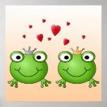 Frosch-Prinz und Frosch-Prinzessin, mit Herzen Plakate