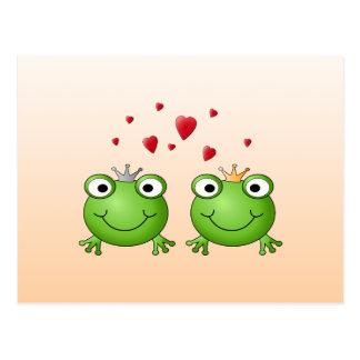 Frosch-Prinz und Frosch-Prinzessin, mit Herzen Postkarte