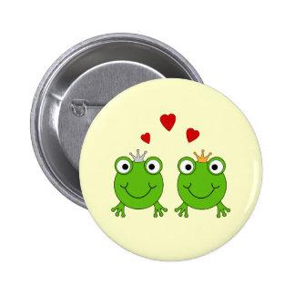 Frosch-Prinzessin und Frosch-Prinz, mit Herzen Anstecknadelbutton
